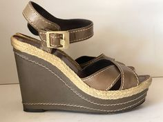 VINCE CAMUTO Olive Green Edon Leather Wedge Sandals Size 6.5 36.5 #VinceCamuto #PlatformsWedges #Casual