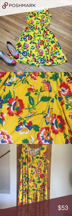 ee7a025ec1 NWT 12W yellow floral sundress Plus size 12W summer dress. I am listing it  as 1x because Poshmark doesnt have 12W. Measurements laying flat: pit to  pit 22