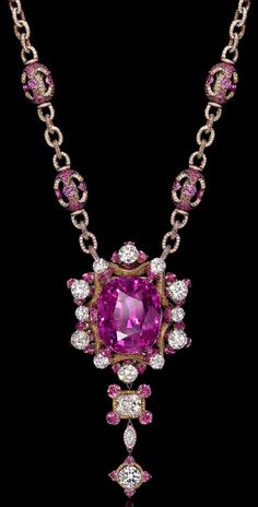 Wallace Chan's Gabriella Rose necklace; diamonds and rubies set in gold surrounding a flawless 164-carat purple sapphire.