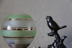 Beautiful French Art Deco Table Lamp Bird on a by maintenant