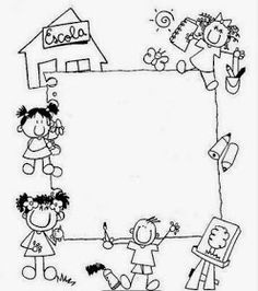 It's so important to teach the kids how to express themselves . like drawing about things thy like or not . Borders For Paper, Borders And Frames, Kindergarten Portfolio, School Frame, Page Borders, Stick Figures, Writing Paper, Border Design, Colouring Pages