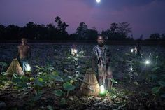 Solar Portraits, India, by Ruben Salgado Escudero Villagers trap fish using cone-shaped baskets and solar light in Odisha. Fewer than half of the state's 42 million residents use grid electricity. Roughly 1.1 billion people in the world live without access to electricity, and close to a quarter of them are in India. The portrait was set up using solar lights as the only source of illumination.