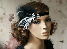 Headpieces & Fascinators - Flapper Haarband 20 er Jahre in schwarz weiß - ein Designerstück von Elizabethmode bei DaWanda