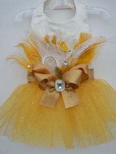 Peacock Gold Bling Tutu Harness Dog Dress by KOCouture on Etsy