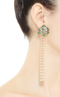Orchid Chandelier Earrings In Green Garnet by Wendy Yue for Preorder on Moda Operandi=This item measures: L x W Chandelier Earrings, Women's Earrings, Diamond Earrings, Ear Jewelry, Jewelry Crafts, Jewellery, Diamond Tops, Expensive Jewelry, Pearl Color