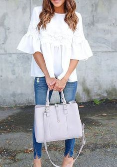 White patchwork casual blouse with lace draped round neck and half-long sleeves Look Fashion, Autumn Fashion, Fashion Outfits, Fashion Trends, Womens Fashion, Modest Fashion, Casual Outfits, Cute Outfits, Work Outfits