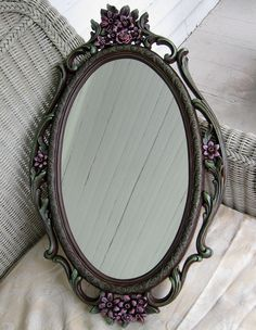Vintage Syroco Floral Mirror Chocolate Brown by WildMountainStudio, $175.00