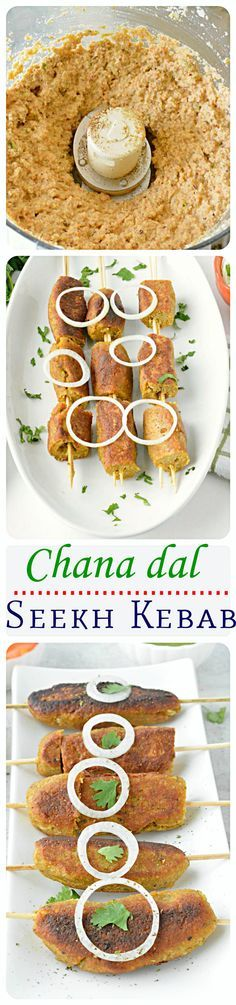 Aromatic spices and veggie- lentil combo give these seekh kebabs a wonderful mix of flavors! Simple and exotic appetizer recipe! Veg Recipes, Indian Food Recipes, Vegetarian Recipes, Cooking Recipes, Recipies, Starter Recipes, Kitchen Recipes, Easy Cooking, Cooking Tips