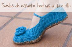 Ponle suelas de esparto a tus zapatillas de ganchillo. Crochet sole for your crocheted slippers