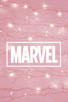 Pink aesthetic Marvel logo