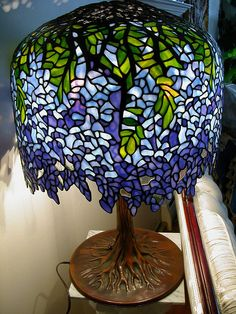 Wishlist: Rare Tiffany Blueviolet Wisteria Stained Glass Lamp only 15,500 dollars... I'll take two!