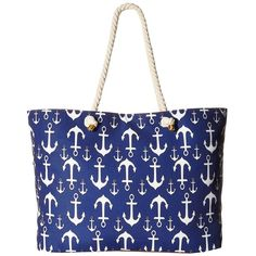 Gabriella Rocha Gretta Anchor Beach Bag (Navy/White) Handbags ($35) ❤ liked on Polyvore featuring bags, handbags, blue, blue handbags, white hand bags, handbags purses, nautical purse and navy purse