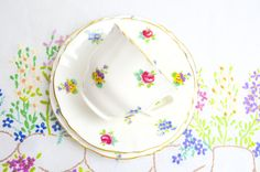 beautiful floral trio by crown china by tillyandarthur on Etsy