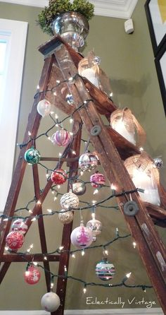 charming Christmas tree ladder by Eclectically Vintage