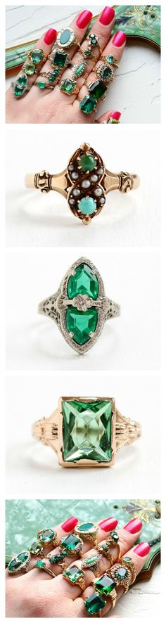 Vintage & antique rings featuring greens! #emerald #jade #turquoise #doublets #createdspinel