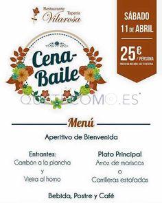 Sábado 11 de Abril, cena-baile   Restaurante tapería Vilarosa en Cedeira, Redondela (Pontevedra)