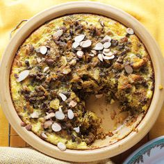 One of South Africa's best-known dishes, a lamb meatloaf frittata hybrid is flavored with golden raisins, curry powder, and tamarind; set in an egg custard - SAVEUR Best Lamb Recipes, Pie Recipes, Cooking Recipes, Favorite Recipes, Curry Recipes, Cooking Ideas, Saveur Recipes, Halal Recipes, Brunch Recipes