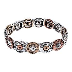 PammyJ Tri-Tone Simulated Bullet 12 Guage Stretch Bracelet ** Read more reviews of the product by visiting the link on the image.