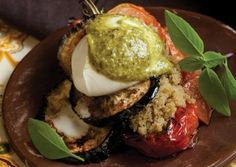 Amaranth Roasted Tomato and Eggplant Stacks with Pesto