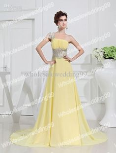 Wholesale On Sale 2012 One Shoulder Beaded Yellow Chiffon A-line Prom Dress Custom Made Online Selling, Free shipping, $118.72-136.34/Piece | DHgate