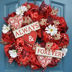 Valentines Burlap Wreath by WonderfulWreathsKim on Etsy, $80.00
