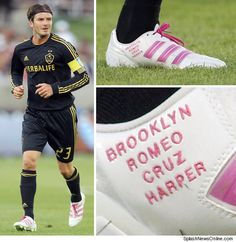 While playing against Real Madrid this weekend, David Beckham rocked a pair of white and pink soccer cleats with the names of his three sons Brooklyn, Romeo and Cruz, and his newborn daughter Harper written across them. Soccer Girl Probs, Soccer Baby, Soccer Gear, Us Soccer, Soccer Girls, David Beckham Boots, David Beckham Soccer, Herbalife, Fun Singer
