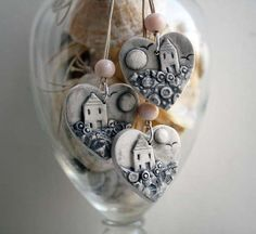 Handmade ceramic pendant - Home is Where the Heart Is, by jolucksted