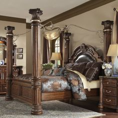 $4,118 Michael Amini Monte Carlo II Four Poster Bed Interior Exterior,  Canopy Bedroom Sets,