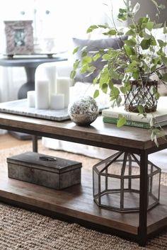 Cómo decorar la mesa de centro en el salón con plantas y velas