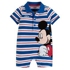 Personalizable Mickey Mouse Tiny Polo Coverall for Baby Boy