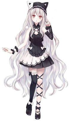 Manga fille - cheveux blancs - gothique - chapeau neko #CatGirl