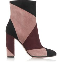 Gianvito Rossi - Patchwork Suede Ankle Boots (€475) ❤ liked on Polyvore featuring shoes, boots, ankle booties, heels, multi, high heel booties, short heel boots, heeled ankle boots, high heel bootie and suede boots
