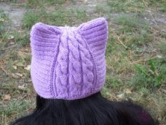 knitted warm hat with ears hat-catknitted hatknitted by LenaKom