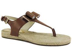 Michael Kors Women's Meg Thong Sandals Luggage Brown Leather T-Strap Size 6 M #MichaelKors #TStrap #DressorCasual