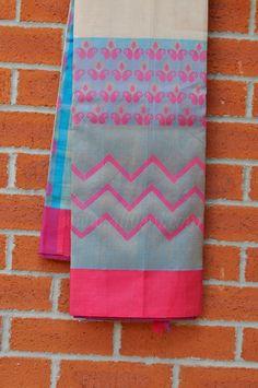 SALE Off White Plain Kuppadam Saree with Blue/Pink Satin Ikat Border - Aliveni  - 1