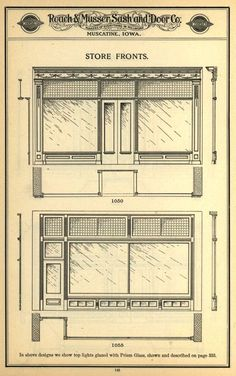 Wooden Storefronts, 1905. Roach & Musser Sash and Door Co. From the Association for Preservation Technology (APT) - Building Technology Heritage Library, an online archive of period architectural trade catalogs. Select an era or material and become an architectural time traveler.
