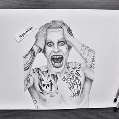 JOKER ✔️ (Month and half of work) What do you think about it? 🃏 Swipe right to see more details 😊  #draw #drawing #worldofartists #arts_gallery #pencildrawing #artistlife #artsy #art #artist #sketch #sketchbook #instagood #portrait #portraitmood #tag_artist #worldofpencils #arts_help #arts_secret #art_sanity #gallery #sketchdaily #gallery #me #instamood #drawings #joker #suicidésquad #harleyquinn #leto #jaredleto #tattoo