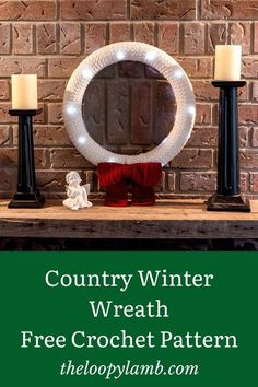 Looking for a classic and timeless crochet wreath? Check out my free crochet pattern to make the Country Winter Wreath. This wreath is accessible for beginners and it even lights up! #crochetwreath #crochetchristmascrafts #crochetforchristmas #christmaswreath #easycrochetchristmas Quick Crochet, Crochet Home, Crochet Crafts, Free Crochet, Crochet Baby, Crochet Projects, Knit Crochet, Holiday Crochet Patterns, Crochet Ideas