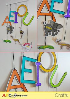 "Make a ""vowel mobile"" using a hanger, string/ribbon, and printables from ABCmouse.com!   Another idea: Create a mobile with the letters of your child's name."