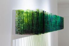 """Green. """"Capturing the accumulation of time as a sculpture allows the viewer to experience the ephemerality of time,"""" """"We are all subject to the passing of time, yet each of us feels and perceives it in our own way… In this series, I attempt to depict time and space as sensations shared by both viewer and artist."""" Layer Drawings, Nobuhiro Nakanishi."""