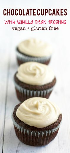Chocolate Cupcakes with Vanilla Bean Frosting (Vegan, Gluten Free). Easy and delicious vegan chocolate cupcakes with vanilla bean frosting. These are simple to make and perfect for a party! Vegan Dessert Recipes, Dairy Free Recipes, Cupcake Recipes, Healthy Recipes, Coconut Dessert, Oreo Dessert, Coconut Sugar, Powdered Sugar, Almond Milk