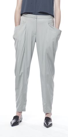 Uti Morning Fog Drape Ankle Trousers by Schai  #fashion #style #glamour #beautiful #runway #designer #color #women #apparel #clothes #clothing #texture #textile #accessories #accessory #outfit #chic #luxe #luxury #trousers #bottoms #white #pants #basic #neutral #light #bright #fog