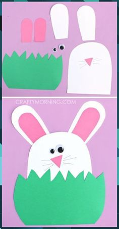 Paper Bunny Hiding in the Grass Craft – Crafty Morning - Spring Crafts For Kids Easter Crafts For Toddlers, Easy Easter Crafts, Daycare Crafts, Bunny Crafts, Easter Projects, Classroom Crafts, Crafts For Kids To Make, Easter Crafts For Kids, Projects For Kids