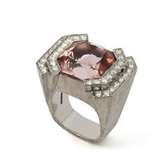 MORGANITE RING, 2011 A Morganite weighing 25 Carats set with Diamonds in White Gold. By Jojo Grima