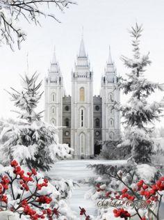 LDS Temple, Salt Lake City, Utah It is the sixth temple completed by the church… Salt Lake City, Mormon Temples, Lds Temples, Utah, Temple Pictures, Church Pictures, Winter Pictures, Salt Lake Temple, Templer