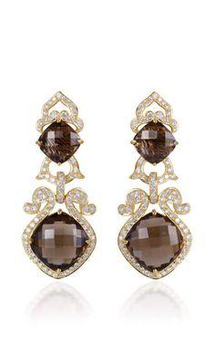 Smokey Topaz And Diamond Earrings by Farah Khan Fine Jewelry for Preorder on Moda Operandi