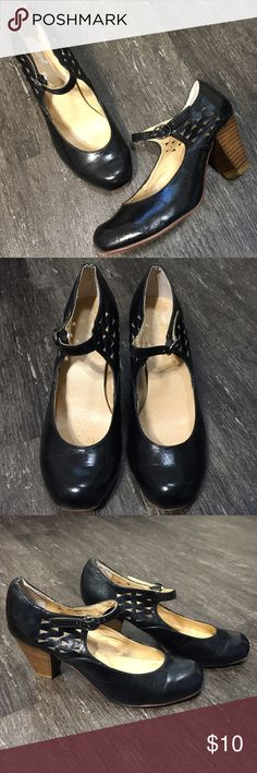 """🦃BUY 2, GET 1 FREE!🦃 Black Laser Cut Mary Janes with wood grain heels by Wanted. Size 7.5. Shows signs of wear, some scuffing, see fourth photo. Heel height 3"""". BLACK FRIDAY SALE! Buy any 2 items and get a third item under $12 for FREE! The item of least value will be used as the free item. Add all items to a bundle and make me an offer for the total of the 2 higher priced items only! Wanted Shoes Heels"""