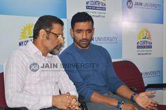 Dr. Chenraj Roychand, Founder Chairman - Jain University and Cricketer Robin Uthappa candid moment.