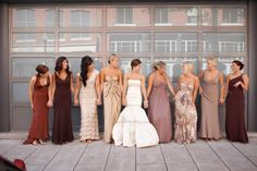 The Eclectic Melting Pot  ~ Who says that your bridal party all have to look alike! Why not mix things up for your bridal party this season with a melting pot of inspiring colors, styles, prints and patterns! Encourage each one of your bridesmaid and groomsmen personality to shine through on your special day.