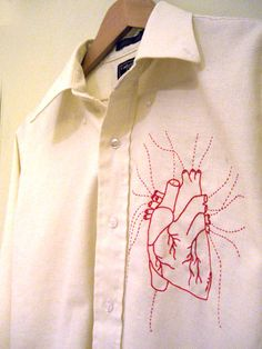 Anatomical Heart embroidered shirt - NEEDLEWORK Knitting, sewing, crochet, tutorials, papercraft, jewlery, needlework, swaps, cooking and so much more on Craftster.org